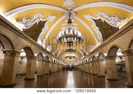 MOSCOW - MARCH 3: Komsomolskaya metro station on March 3, 2016 in Moscow. Komsomolskaya is one of the most attractive metro station in Moscow.