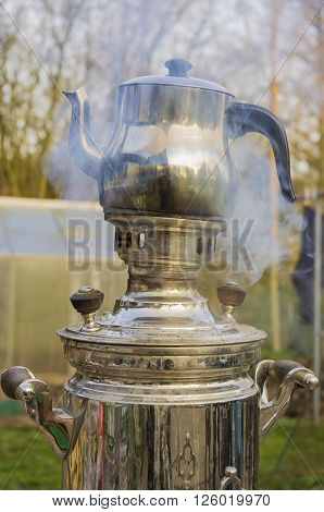 This wood-burning samovar. The tea is prepared without electricity.