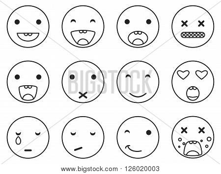 Outline round smile emoji set. Emoticon icon linear style vector set. Expression comic emoji. Smiley face icons.