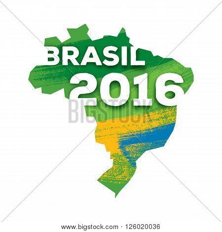 Rio de janeiro 2016 Brasil map abstract colorful background vector illustration. Good for advertising design. Decorative texture. Brazilian flag colors.
