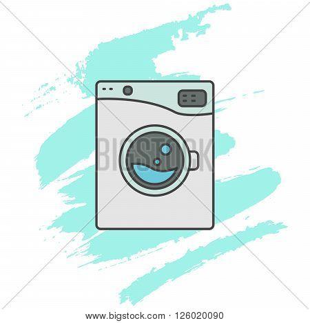 Washing machine line icon sign. Outlined automatic washer symbol. Blue aqua brush strokes on background.