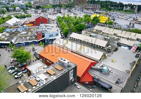 Vancouver, Canada, June 17, 2011: Aerial view of Granville island public market from Granville bridge at day time.