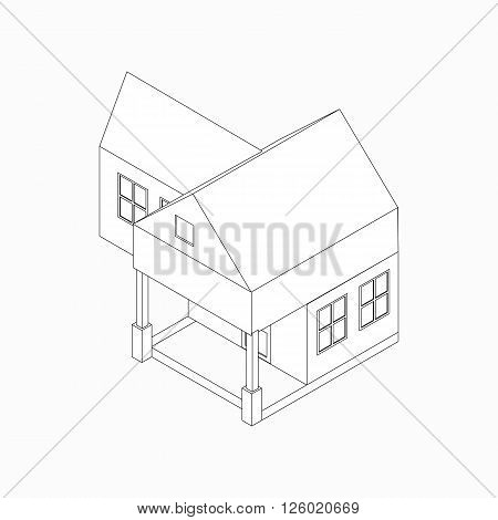 Detached house with porch icon in isometric 3d style isolated on white background