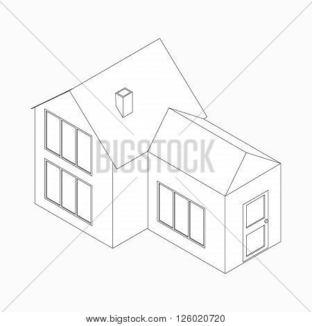 House with detached entrance icon in isometric 3d style isolated on white background