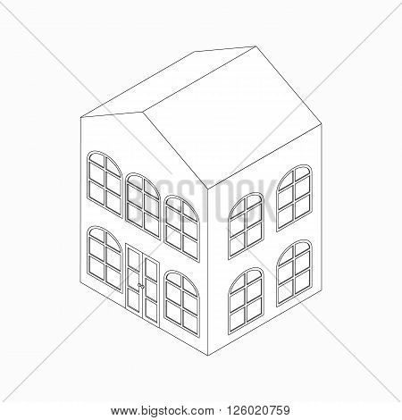 Apartment building with arched windows icon in isometric 3d style isolated on white background