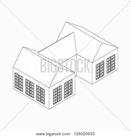Semi-detached house icon in isometric 3d style isolated on white background