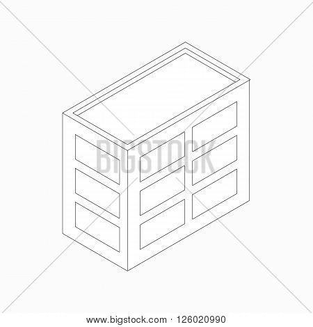 Low-rise office building icon in isometric 3d style isolated on white background. Three-storied building