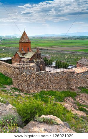 The Christian monastery of Khor Virap in Armenia.