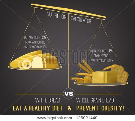 Healthy food infographics. Graphic creative concept. Vector editable illustration in natural colors on a dark grey background. Normal nutrition poster template. Eat a healthy diet and prevent obesity