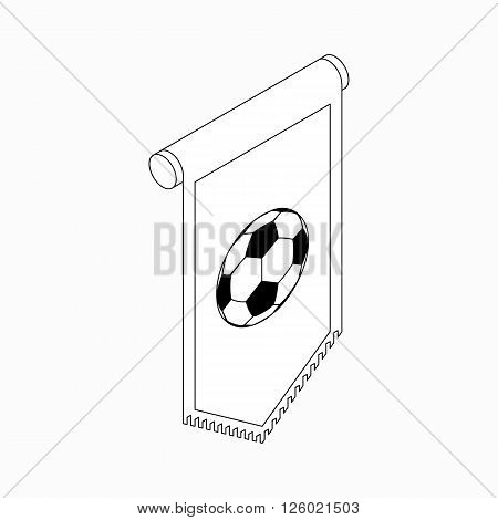 Pennant with soccer ball icon in isometric 3d style on a white background