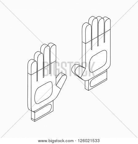 White sport gloves icon in isometric 3d style on a white background