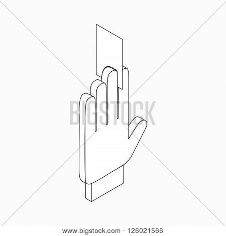 Referee showing card icon in isometric 3d style on a white background