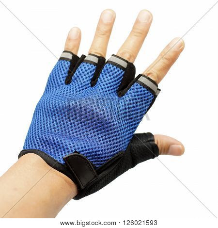 male hand wearing cycling gloves isolated on white background