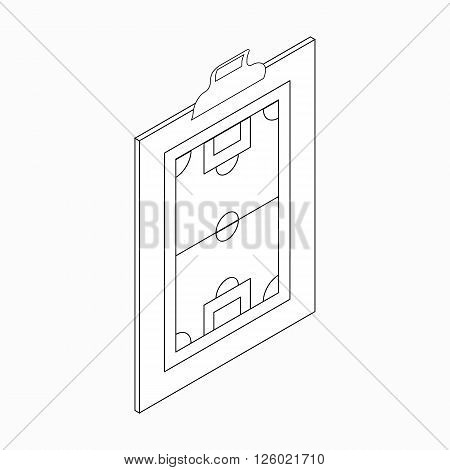 Clipboard with soccer tactic icon in isometric 3d style on a white background