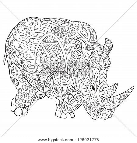 Zentangle stylized cartoon rhino (rhinoceros) isolated on white background. Hand drawn sketch for adult antistress coloring page T-shirt emblem logo or tattoo with doodle zentangle design elements