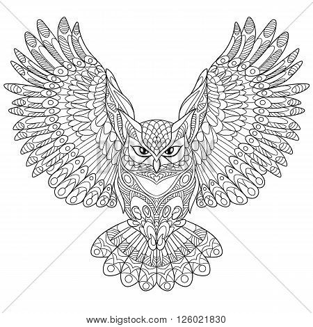 Zentangle stylized cartoon eagle owl isolated on white background. Hand drawn sketch for adult antistress coloring page T-shirt emblem logo or tattoo with doodle zentangle floral design elements.