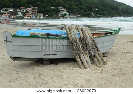 fishing boat with trunks in a fishers village in Florianopolis, Brazil