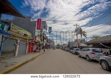 ATACAMES, ECUADOR - March 16, 2016:  Steet view of beach town located on Ecuador's Northern Pacific coast. It is located in the province of Esmeraldas.