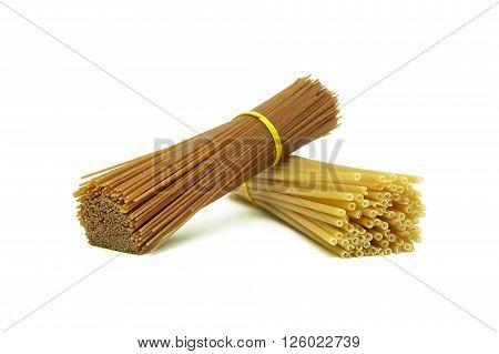 Pasta isolated on white background close up. horizontal photo.