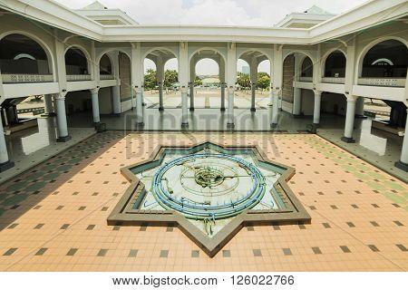SUBANAYA - MARCH 23 2016. Interior Al-Akbar Mosque (Masjid Raya) in Surabaya Indonesia.