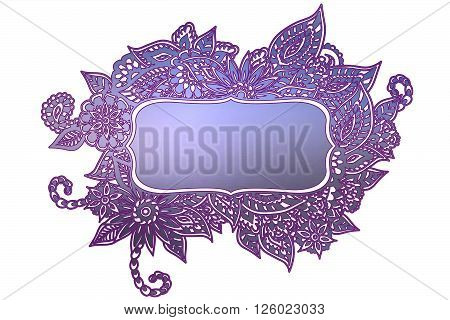 Blue and purple ornate floral doodle frame isolated on white with room for your text.