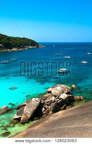 tropical bay with a white beach and transparent turquoise water (Similansky islands).