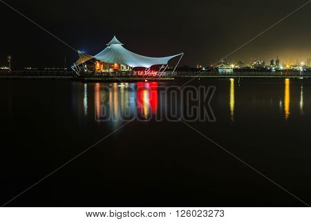 Jakarta Indonesia - March 16 2016: Night view on Ancol beach in Jakarta. INDONESIA