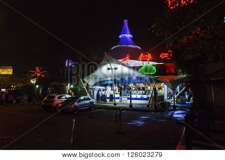 Jakarta Indonesia - March 16 2016: Night view on fish restaurant on Ancol beach in Jakarta. INDONESIA