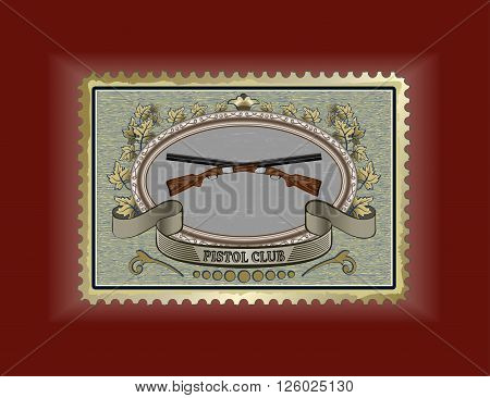 expensive collectible rifles against the backdrop of a postage stamp