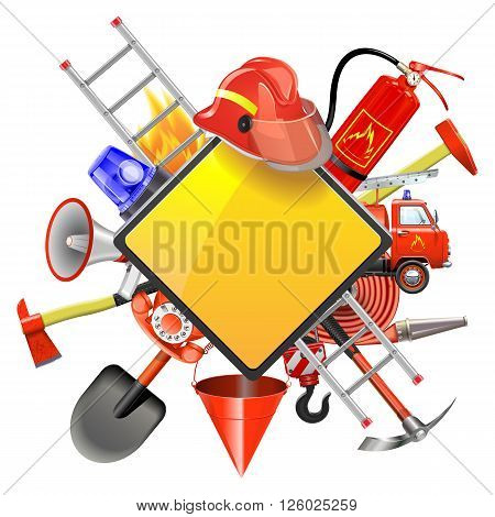 Vector Fire Prevention Signboard isolated on white background