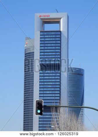 Madrid Spain April 7th 2016. building skyscrapers at madrid city in spain. Madrid Spain April 7th 2016.