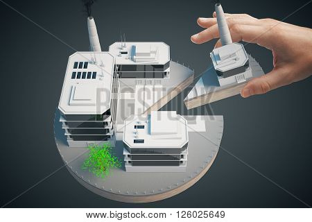Shareholder concept with male hand taking piece of business pie on dark background. 3D Rendering
