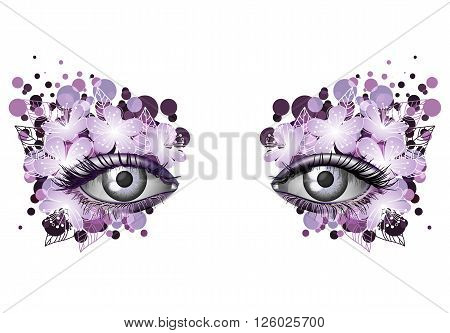 Look of the spring photorealistic eye artistic makeup with flowers violet