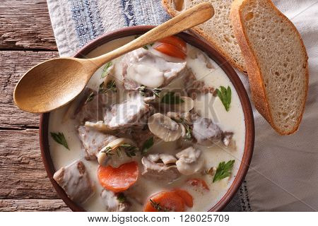 Blanquette De Veau Close Up In A Bowl. Horizontal Top View
