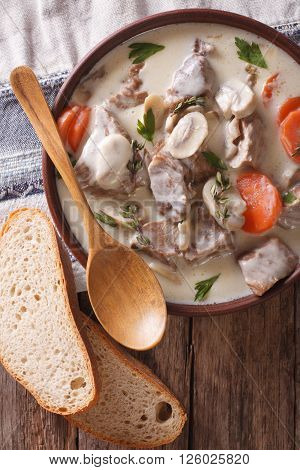 Blanquette Of Veal In A Creamy Sauce In A Bowl. Vertical Top View