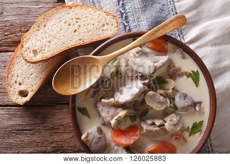 Blanquette Of Veal In A Creamy Sauce In A Bowl. Horizontal Top View