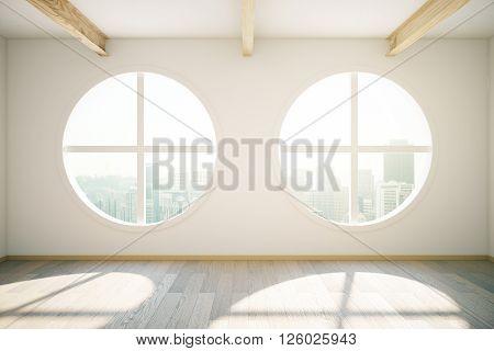 Sunlit interior design with wooden floor and circular windows revealing city view. 3D Rendering