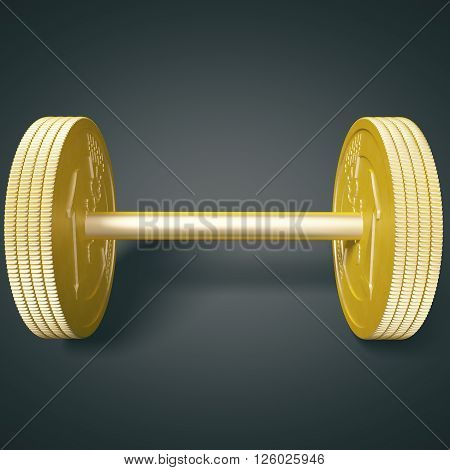 Euro coin dumbbell on black background. 3D Rendering
