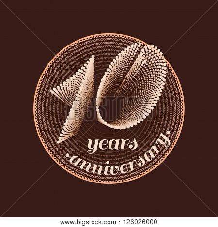 10 years anniversary vector icon. 10th celebration design. Golden jubilee symbol