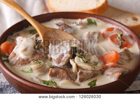 Blanquette Of Veal In A Creamy Sauce In A Bowl. Horizontal