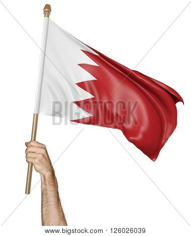 Hand proudly waving the national flag of Bahrain, 3D rendering