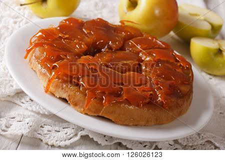 Delicious Apple Pie Tarte Tatin With Caramel Close-up. Horizontal