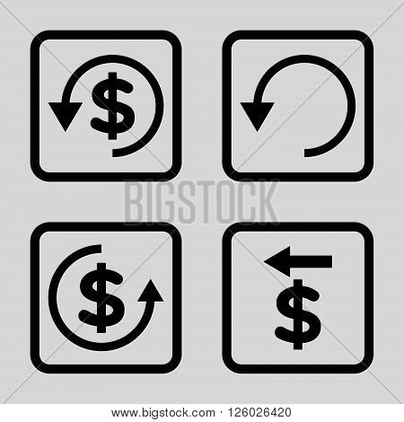 Chargeback vector icon. Image style is a flat icon symbol inside a square rounded frame, black color, light gray background.