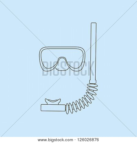 Diving Mask Icon. Mask and tube for diving vector illustration isolated on blue background