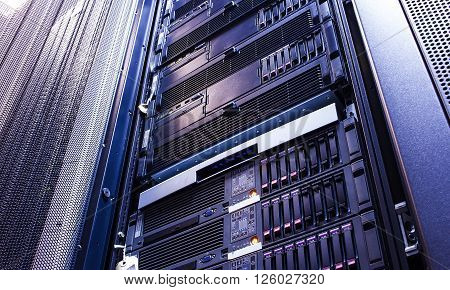 disk storage blades in mainframe server room