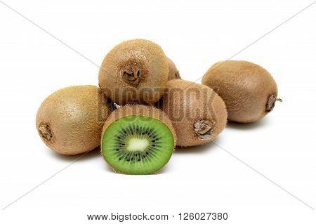 Juicy ripe kiwi fruit isolated on white background close up. horizontal photo.