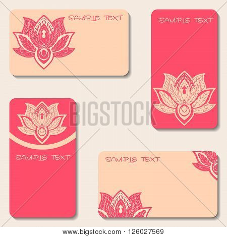 Set of business cards with lotuses. Beauty designs. Vector vintage visiting card set. Lotus mandala pattern. Oriental design Layout. Islam Arabic Indian ottoman motifs.