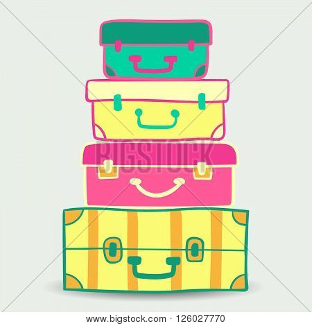 Mountain vintage suitcases. Travel Bags Colored. Collection of travel suitcases. Travel Suitcases. Vector