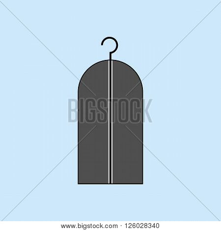 Wardrobe Costume Trunk. Clothes Hanger icon. Dress Hanger. Vector illustration
