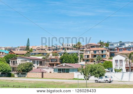 JEFFREYS BAY SOUTH AFRICA - FEBRUARY 28 2016: A street scene showing a residential suburb in Jeffreys Bay in the Eastern Cape Province of South Africa